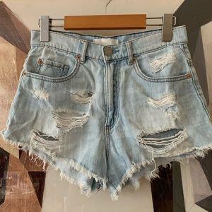 Garage Festival distressed denim jean shorts